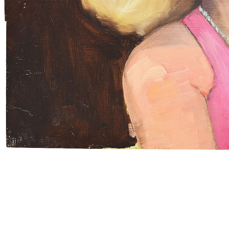Mid-Century Modern Original Portrait Painting of a Pin-up Woman in Pink, Signed For Sale