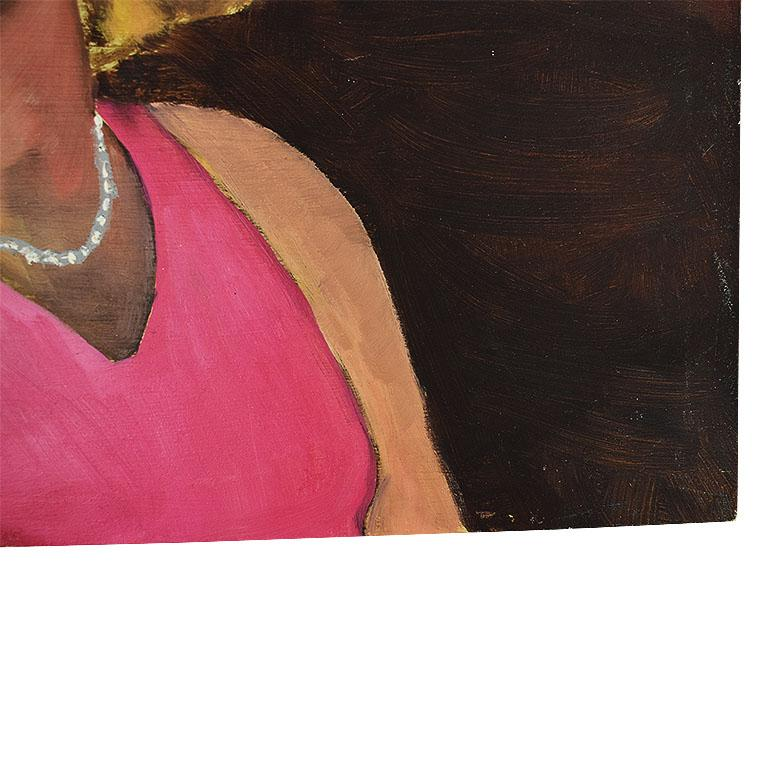 American Original Portrait Painting of a Pin-up Woman in Pink, Signed For Sale