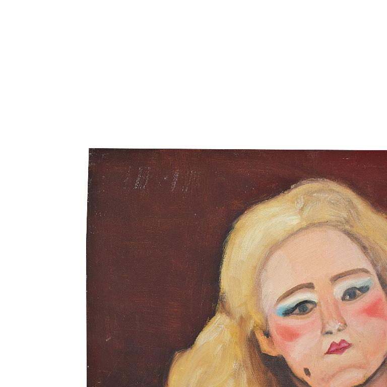 Original Portrait Painting of a Pin-up Woman in Pink, Signed In Excellent Condition For Sale In Oklahoma City, OK