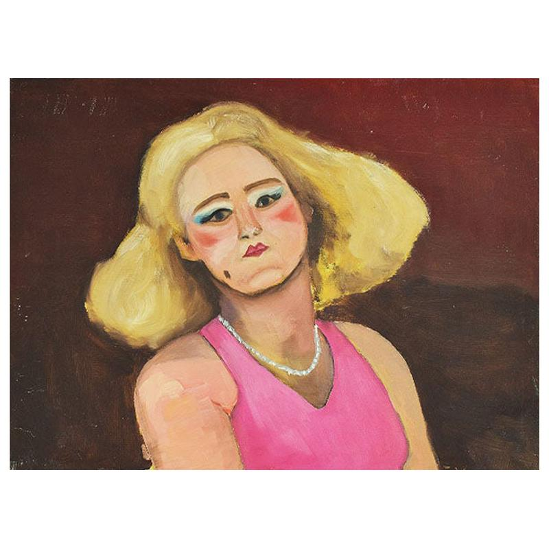 Original Portrait Painting of a Pin-up Woman in Pink, Signed
