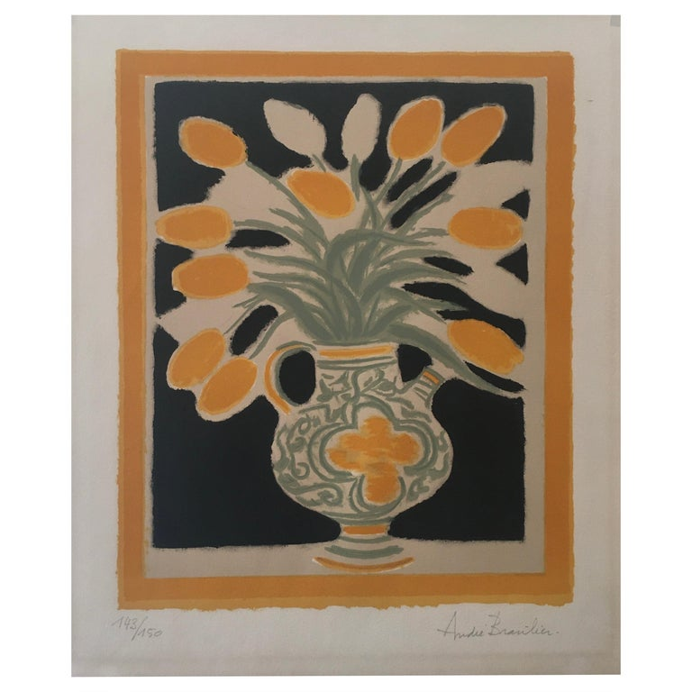 Original Poster by Andre Brasilier, 'The Italian Vase' Signed & Numbered For Sale