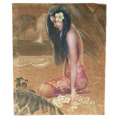 Orig Pre-War Beach Polynesian Girl Oil Painting on Velvet, Roger Fowler, Tahiti