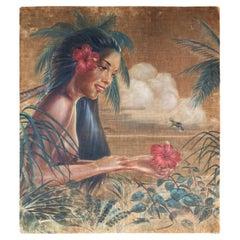 Original Pre-War Beach Polynesian Oil Painting on Velvet by Roger Fowler, Tahiti