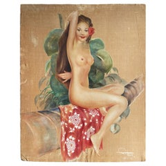 Original Pre-War Topless Polynesian Oil Painting on Velvet by Roger Fowler,Tahit