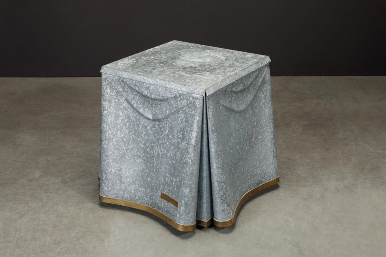 Original Production John Dickinson Galvanized Steel Drape End Table, Signed For Sale 3