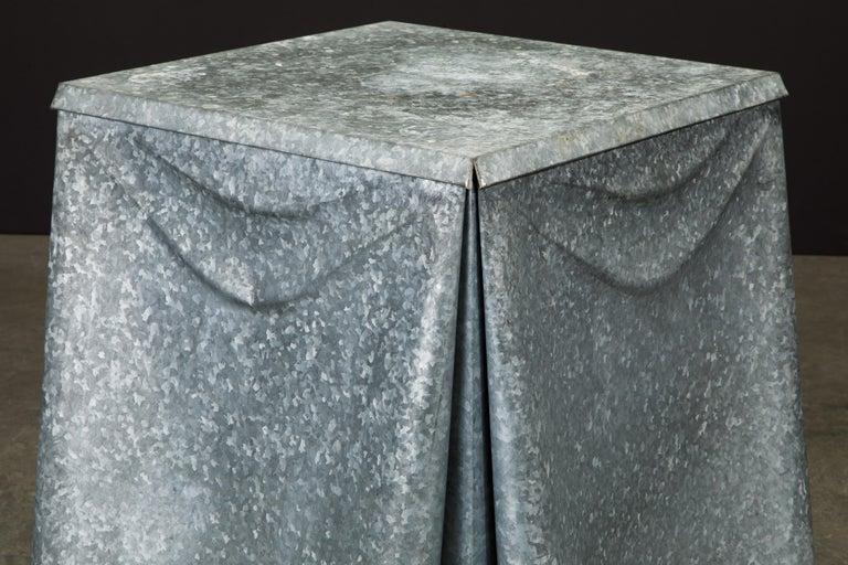 Original Production John Dickinson Galvanized Steel Drape End Table, Signed For Sale 4