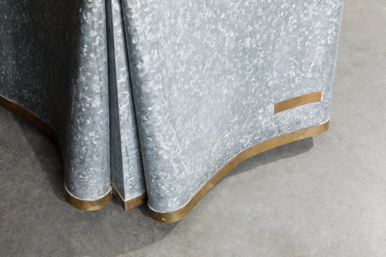 Original Production John Dickinson Galvanized Steel Drape End Table, Signed For Sale 6