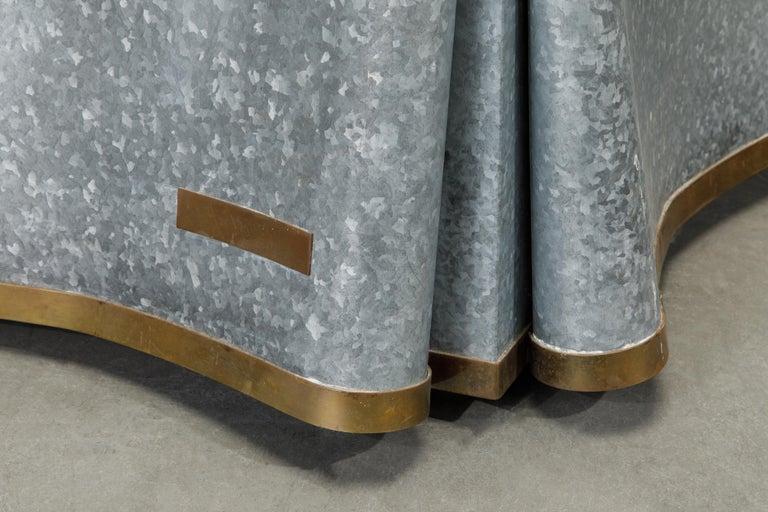 Original Production John Dickinson Galvanized Steel Drape End Table, Signed For Sale 7