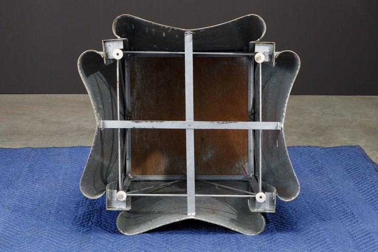 Original Production John Dickinson Galvanized Steel Drape End Table, Signed For Sale 8