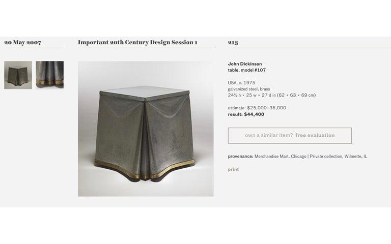 Original Production John Dickinson Galvanized Steel Drape End Table, Signed For Sale 9