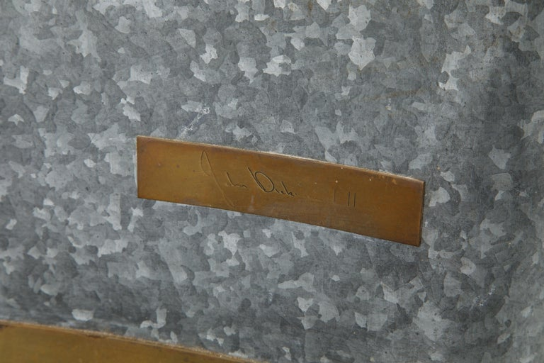 Modern Original Production John Dickinson Galvanized Steel Drape End Table, Signed For Sale