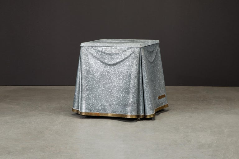 Original Production John Dickinson Galvanized Steel Drape End Table, Signed In Good Condition For Sale In Los Angeles, CA