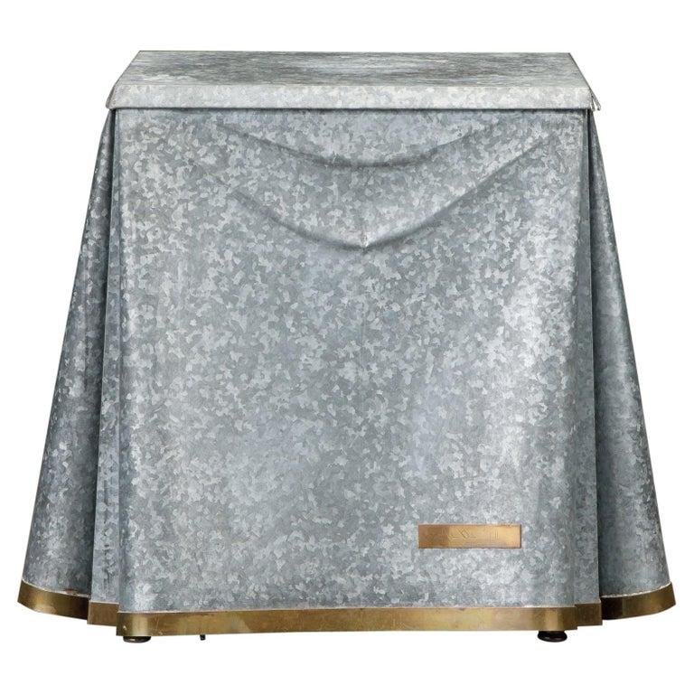 Original Production John Dickinson Galvanized Steel Drape End Table, Signed For Sale