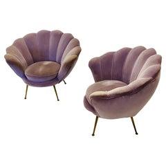 Original Pupel Velvet Pair Italian Midcentury Armchair Style of Marco Zanuso