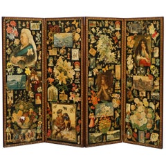 Original Queen Victoria Decoupage Four Panel Folding Screen Totally Original