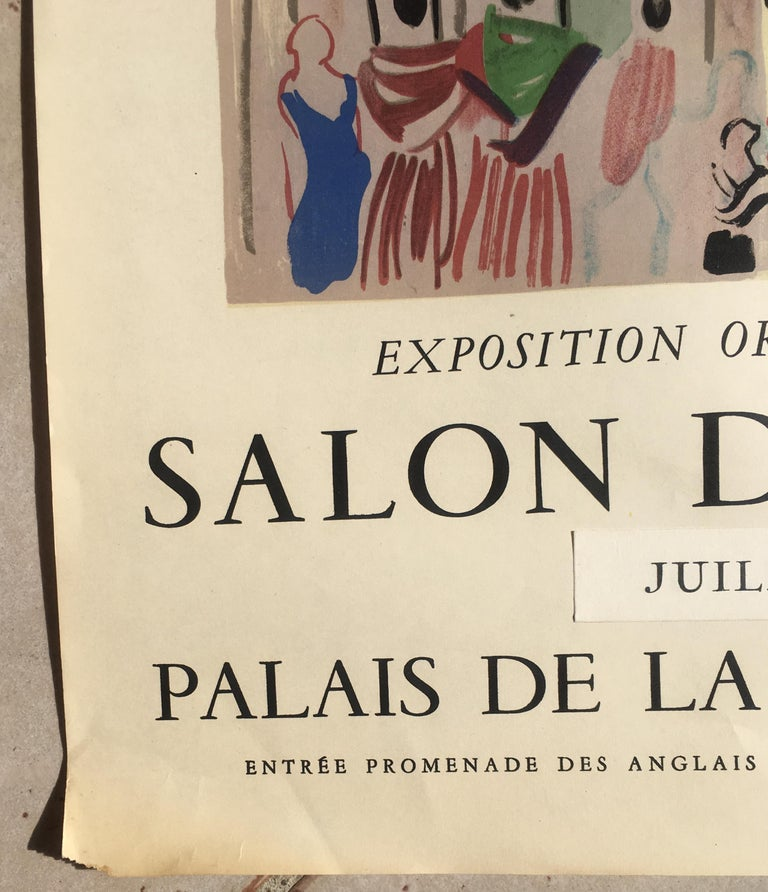 Original Raoul Dufy Mourlot Art Poster, Extended Exhibition Date In Good Condition In Arles, FR