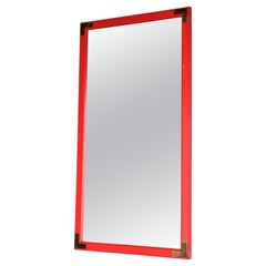 Original Red Orange Painted Wood and Brass Campaign Style Mirror