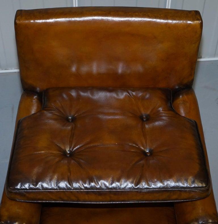 Original Regency circa 1810 Hand Dyed Brown Leather Gentleman's Club Armchair For Sale 5