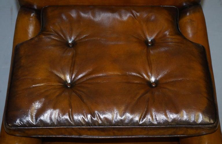 Original Regency circa 1810 Hand Dyed Brown Leather Gentleman's Club Armchair For Sale 6