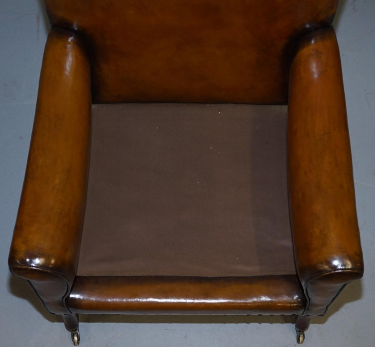 Original Regency circa 1810 Hand Dyed Brown Leather Gentleman's Club Armchair For Sale 7