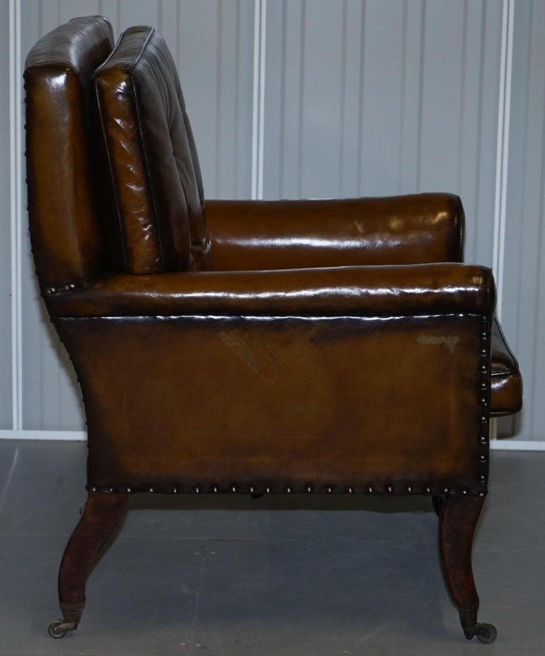 Original Regency circa 1810 Hand Dyed Brown Leather Gentleman's Club Armchair For Sale 2