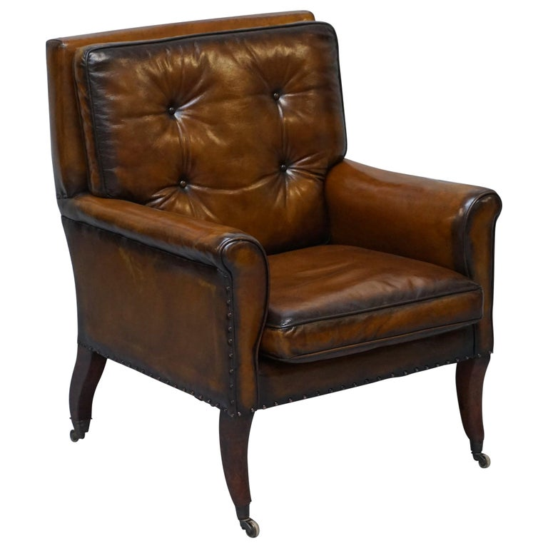 Original Regency circa 1810 Hand Dyed Brown Leather Gentleman's Club Armchair For Sale