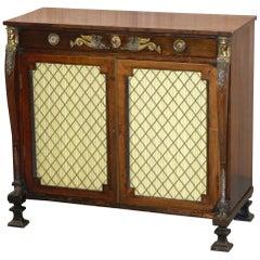 Original Regency Hardwood Egyptian Revival Ormolu-Mounted Sideboard Cupboard