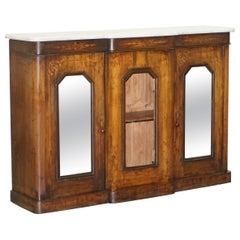 Original Regency Walnut and Marble Credenza Sideboard Cupboard Mirrored Doors