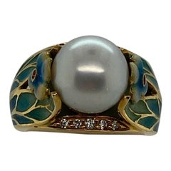 """Original Reproduction"" Art Nouveau Enamel, Diamond and Pearl Ring"