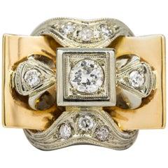 Original Retro 1940s 18 Karat Gold and Platinum Diamond Ring