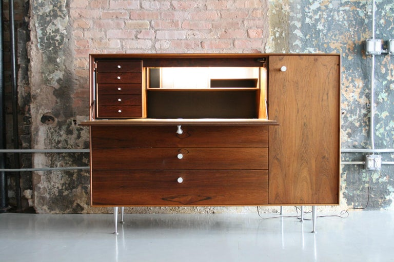 Mid-Century Modern Original Rosewood Thin Edge Secretary Desk / Cabinet by George Nelson For Sale