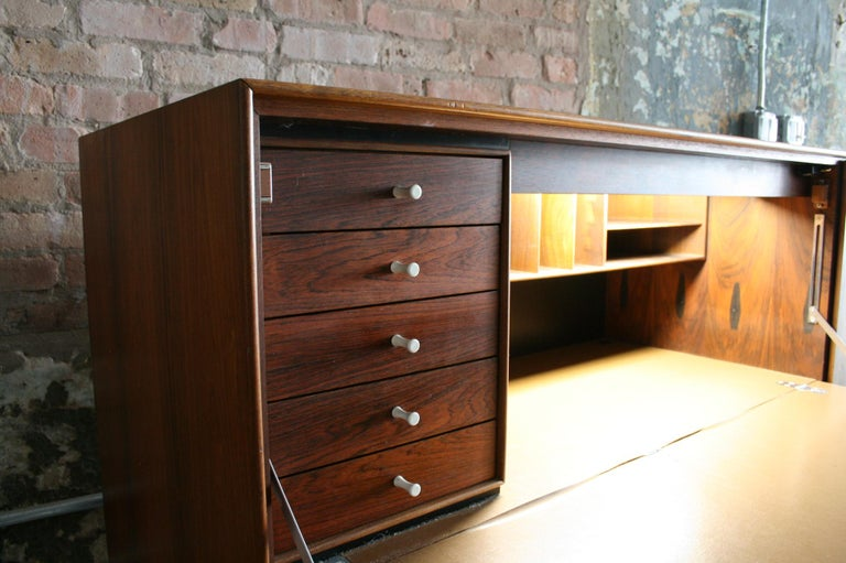 Original Rosewood Thin Edge Secretary Desk / Cabinet by George Nelson For Sale 1