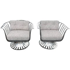 Original Russell Woodard Polished Aluminum Armchairs, Pair