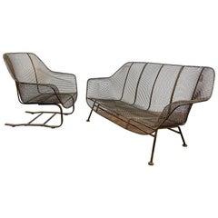 "Original Russell Woodard ""Sculptura"" Settee and Cantilevered Lounge Chair"