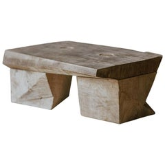 Original Sculpted Low Table in Oak Wood, Denis Milovanov