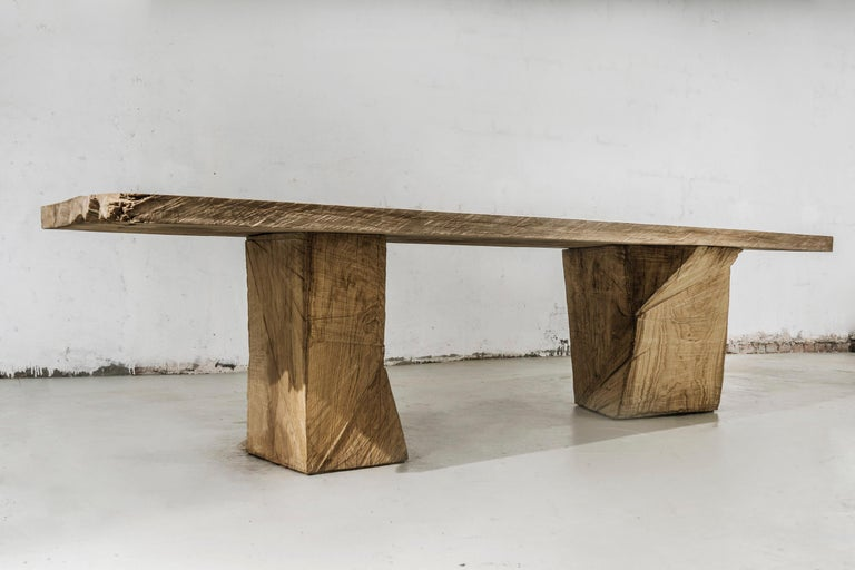 Original Sculpted Table in Oakwood, Denis Milovanov For Sale 1
