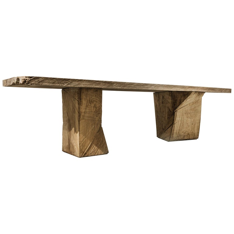 Original Sculpted Table in Oakwood, Denis Milovanov For Sale