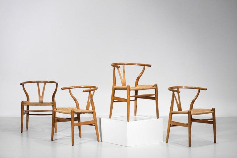 Original Set of 4 CH24 Chairs by Designer Hans Wegner Oak Danish Scandinavian For Sale 8