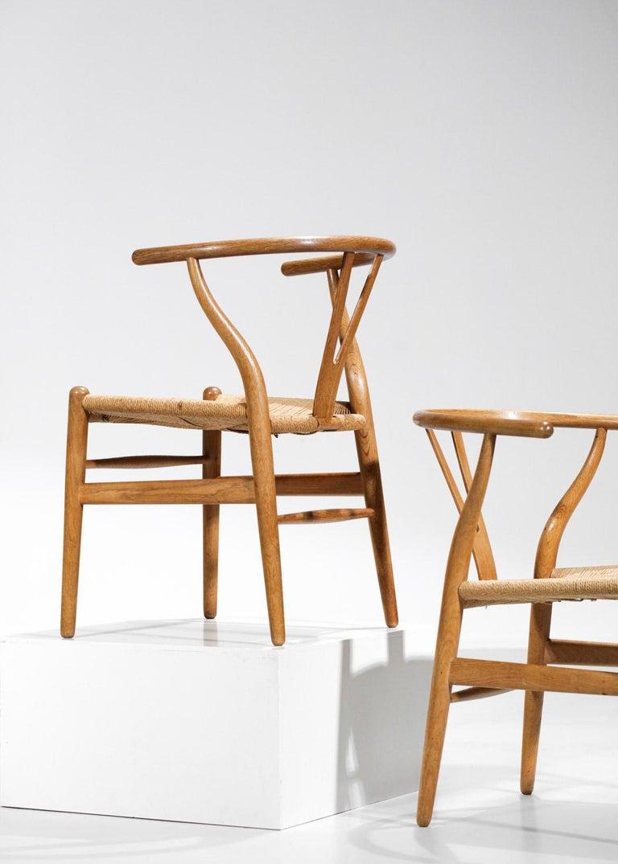 Original Set of 4 CH24 Chairs by Designer Hans Wegner Oak Danish Scandinavian For Sale 10