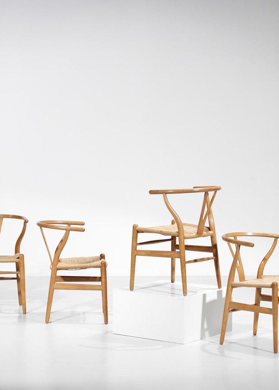 Original Set of 4 CH24 Chairs by Designer Hans Wegner Oak Danish Scandinavian For Sale 12