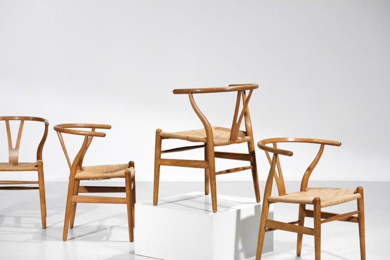 Original Set of 4 CH24 Chairs by Designer Hans Wegner Oak Danish Scandinavian For Sale 13