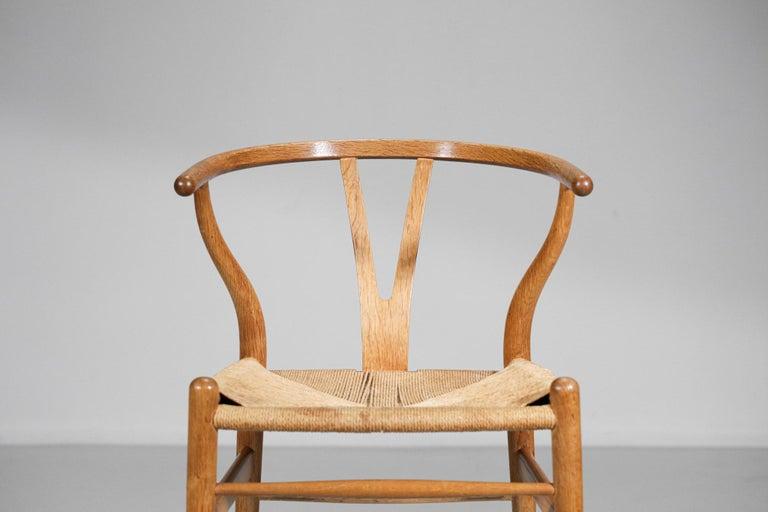 Original Set of 4 CH24 Chairs by Designer Hans Wegner Oak Danish Scandinavian For Sale 5