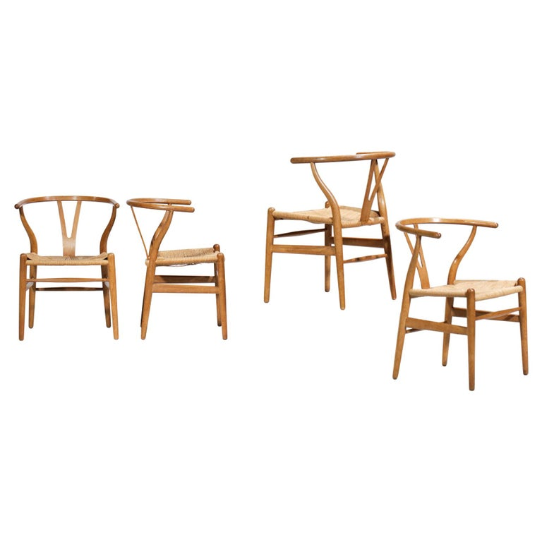 Original Set of 4 CH24 Chairs by Designer Hans Wegner Oak Danish Scandinavian For Sale
