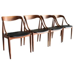Original Set of Four Teak Danish Modern Dining Chairs by Johannes Andersen