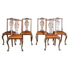 Original Set of Six Chairs Neo Baroque, circa 1870 Walnut Veneer
