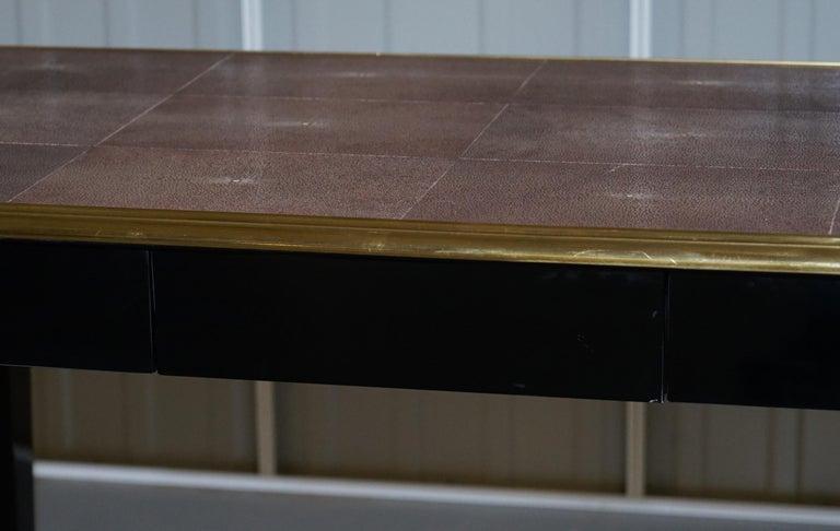 Original Shagreen Gilt Metal Writing Table Desk with Single-Drawer For Sale 4