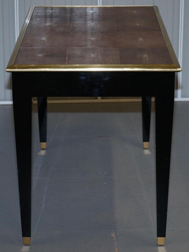 Original Shagreen Gilt Metal Writing Table Desk with Single-Drawer For Sale 6