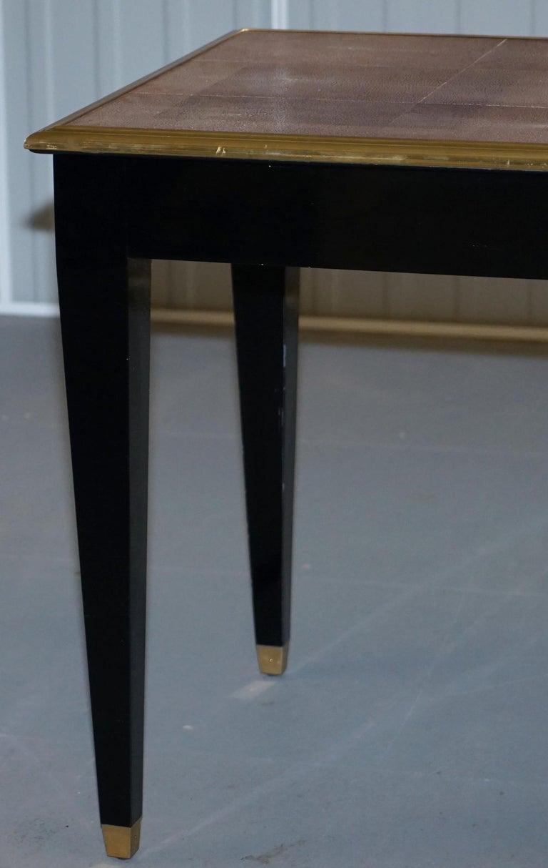 Original Shagreen Gilt Metal Writing Table Desk with Single-Drawer For Sale 8