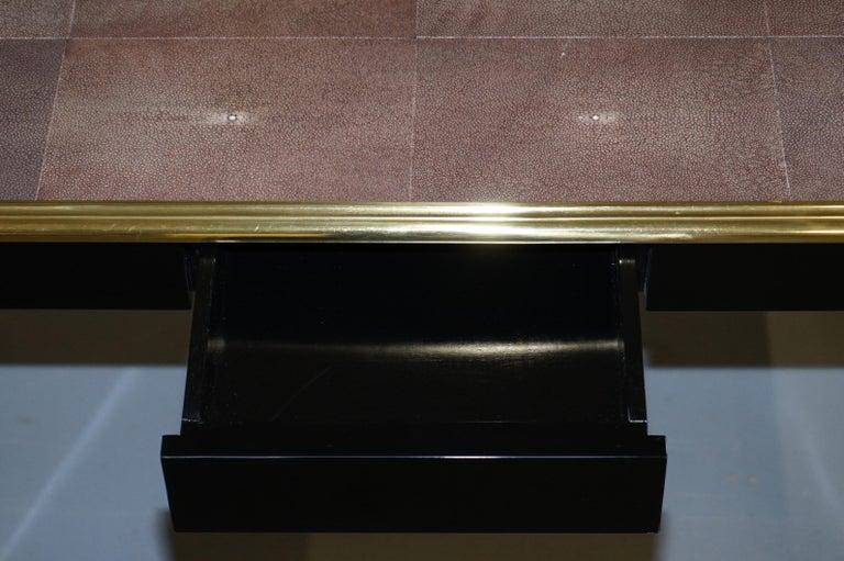 Original Shagreen Gilt Metal Writing Table Desk with Single-Drawer For Sale 10