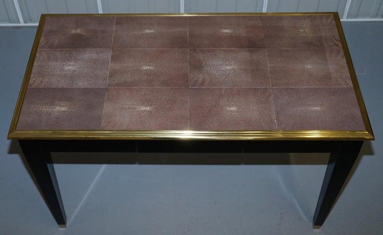 Modern Original Shagreen Gilt Metal Writing Table Desk with Single-Drawer For Sale